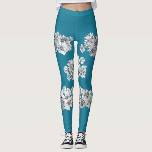 Designers floral yoga leggings : blue