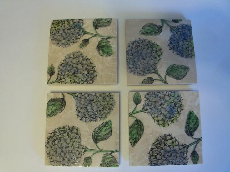 Set of 4 Blue Hydrangea Coasters. $16.00, via Etsy.