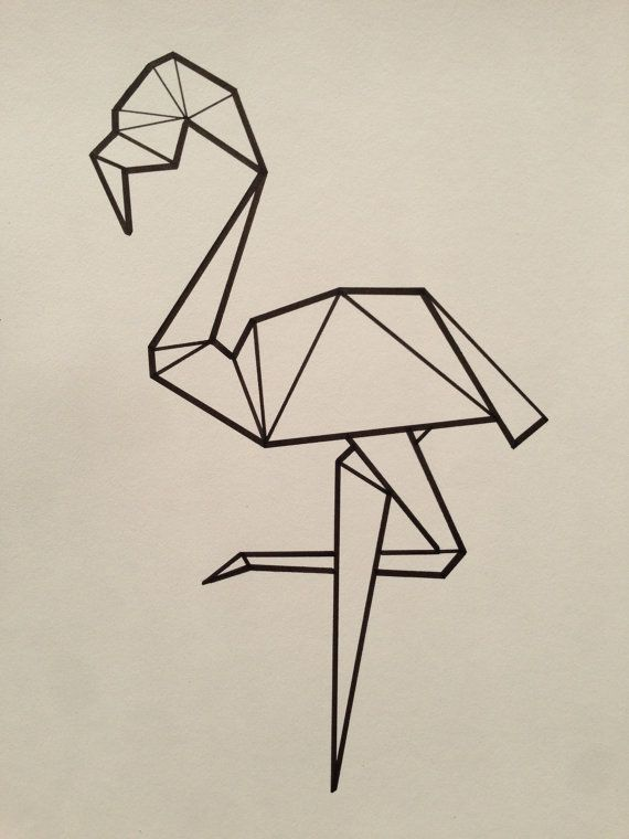 Flamant rose origami dessin