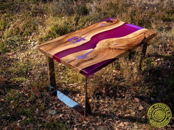 Deep Purple Resin Coffee Table With Glowing In 2019