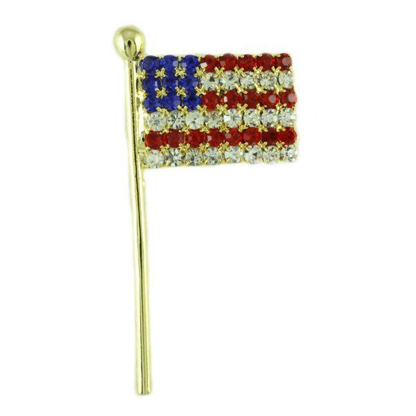 Goldtone Crystal American Flag Pin