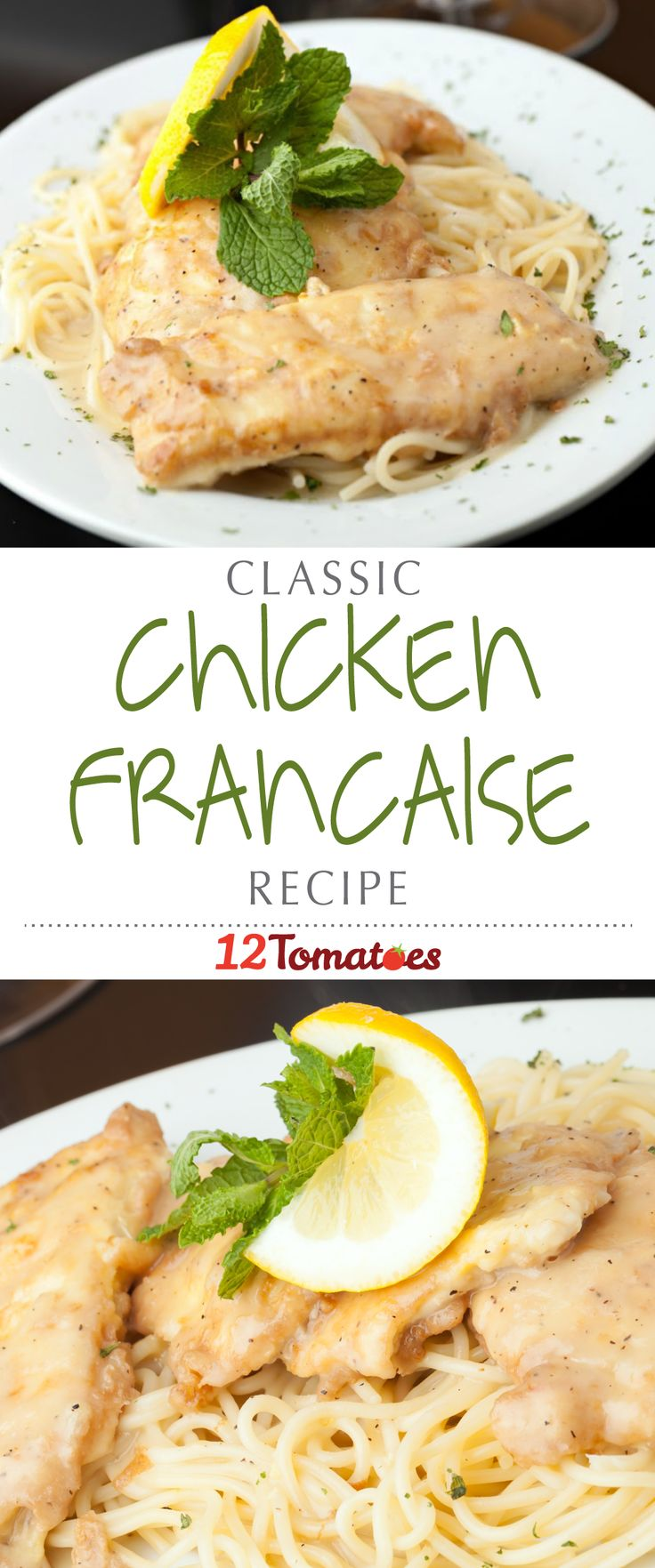 Classic Chicken Francaise | Deliciously fried chicken breasts served over spaghetti with a bright and citrusy, white wine sauce…it doesn't get any better than that!