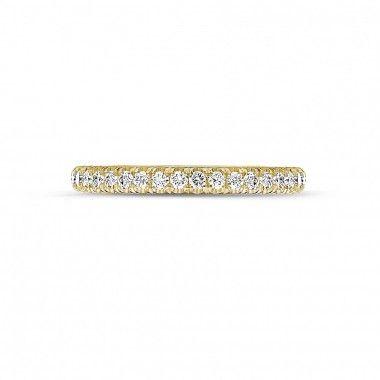Anillos de Boda Diamantes de Oro Amarillo - Alliance (por medio engastado) en oro amarillo con diamantes redondos - Online boutique
