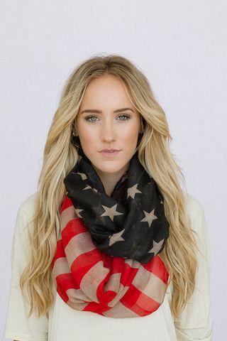 Vintage American Flag Infinity Scarf...
