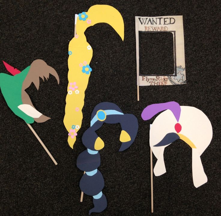 Tangled, Peter Pan, and Aladdin themed photo booth props for our Disney Karaoke party!