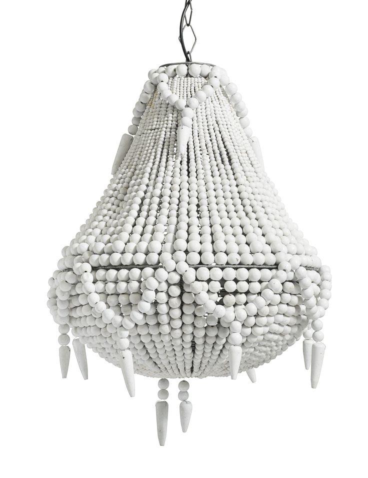 Lampa z koralików drewnianych - biała - Loft & more