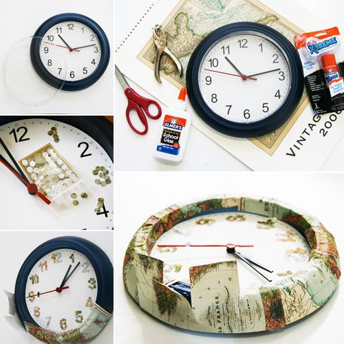 diy map clock ikea hack two dollar clock gets a map - Room Decorations Diy Pinterest