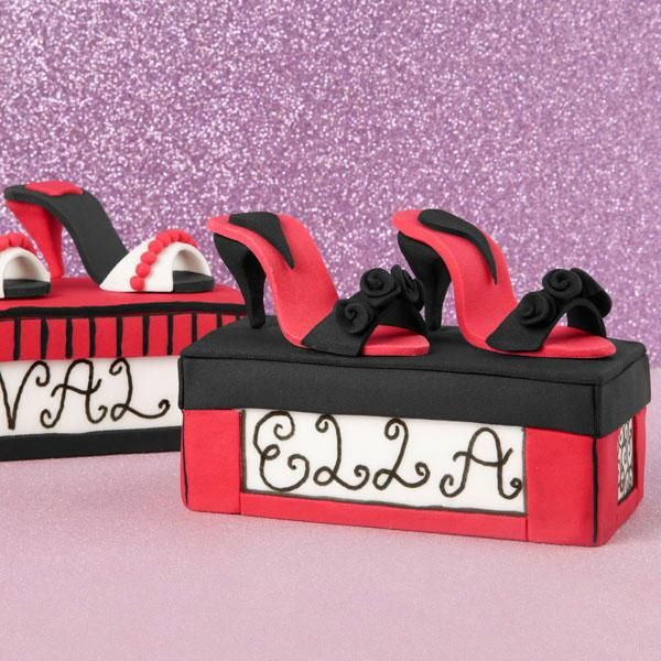 """Pretty Pumps Mini Cakes - Diamonds aren't a girl's only best friend. Celebrate yours with these """"soleful"""" mini cakes. Use our Mini Loaf Pan to make one for each of your gal pals."""