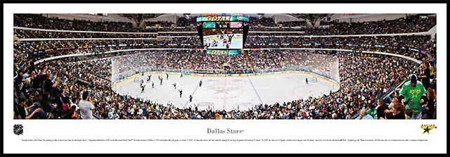 Dallas Stars Wood Mounted Panoramic Poster Print - American Airlines Center