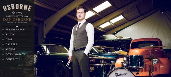 Daniel Osborne Another design with an awesome photographic background. Daniel is the centerpiece in his own design, striking a very cool pose by some drums and vintage cars. The sidebar for the site is concise, but explains clearly what he does and gives easy to navigate menu links.