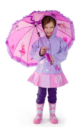 Ballarina Kids Rain coat with matching boots makes rain so much fun. Find her perfect kids rain coat or kids rain gear before the rain starts.