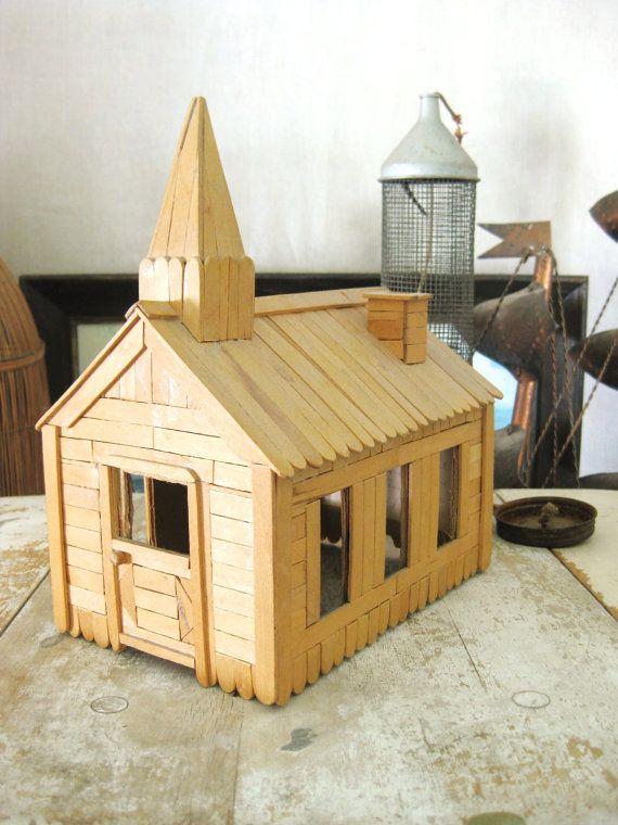 Vintage Popsicle Stick Church 1971 Vintage by wilshepherd on Etsy