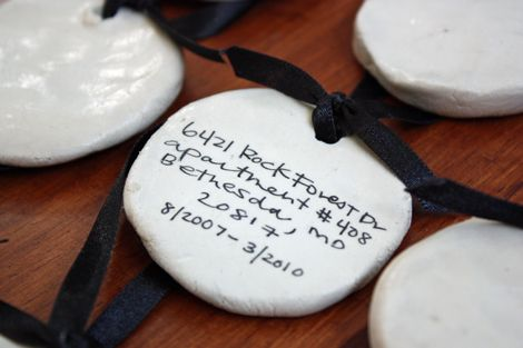 Clay ornaments with your past & present addresses on them