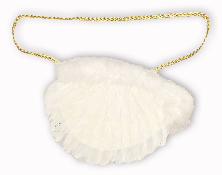 Mit dieser süßen Handtasche vervollständigen Sie Ihr Engelskostüm zu Weihnachten, Karneval, Weihnachtsfeier oder Weihnachtsmarkt perfekt! Die weiße Federtasche ist mit einem goldenen Kordelband verziert und in Form eines Engelsflügels.