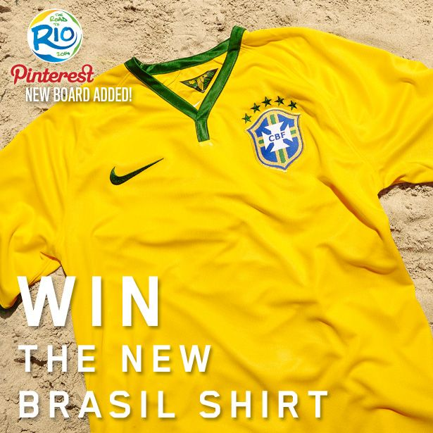"How To Enter: Create a new Pinterest board, and name it ""PDS Road to Rio."" Re-Pin This image and your favourite world cup moment to be in with a chance of winning the new Brasil home shirt. Competition closes Fri 29th November 12pm (GMT)"