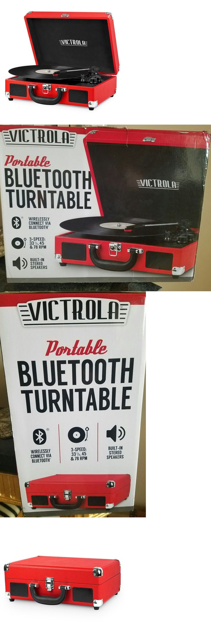 Record Players Home Turntables: New Portable Red Victrola Suitcase Record Player Bluetooth And 3 Speed Turntable BUY IT NOW ONLY: $34.99