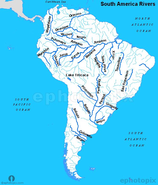 South America Rivers Map Rivers Map Of South America