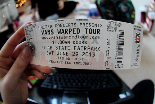 Duh! Don't forget your ticket! #warpedtour