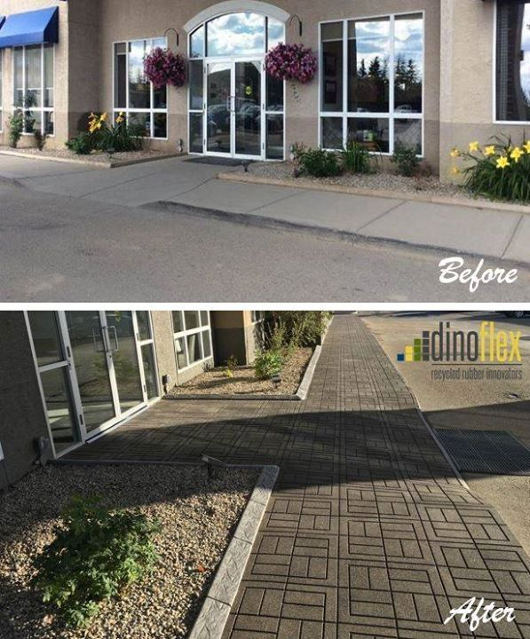 Talk about a before and after! Best Western High Road Inn in Edson, Alberta used our Cushion Walk Pavers to create a fresh and clean new look for their hotel goers. Cushion walk pavers are easy to install and give a fabulous new look to any existing concrete surface. Visit our website www.dinoflex.com to see all of our pattern and colour options. #Dinoflex #CushionWalkPavers #BestWesternHighRoadInn #Edson #Alberta #UniquelyDifferent