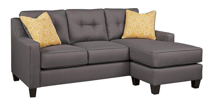 Benchcraft - Aldie Nuvella Contemporary Sofa Chaise - Gray ...