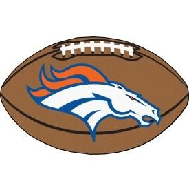 Denver Broncos football shaped mat