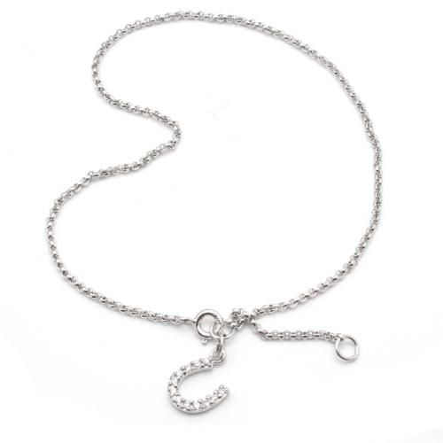 Pave CZ Equestrian Horseshoe Sport Ankle Bracelet 9in