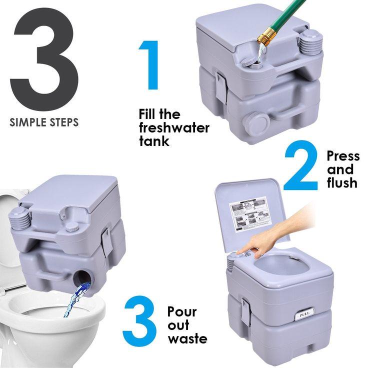 5 gallon 20 l outdoorindoor potty commode portable flush