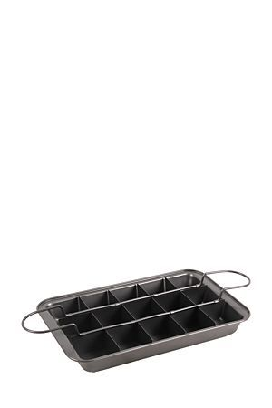"""Aluminum 3 piece brownie pan, with removable base tray and cutter. The non stick coating makes this pan durable and easy to clean. A bake ware essential for any kitchen<div class=""""pdpDescContent""""></div>"""