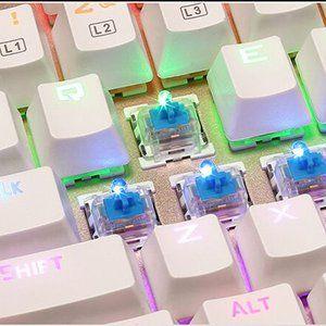 North Crown X-1 メカニカル式 キーボード 青軸防水機能付き 9パターン LED バックライトモード usb接続 有線 アルミ加工 高感度キーで打つ正確性が抜群 ゲーミングや普段使いに最適 Windows/Mac OS対応 (ホワイト)