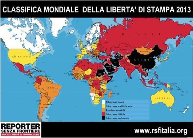 Come sta la libertà di #stampa nel mondo. #informazione #media #giornalismo