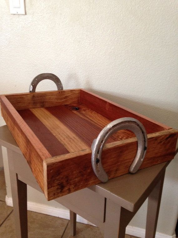 Reclaimed Wood Serving Tray with Horse Shoe by WoulfsCreations