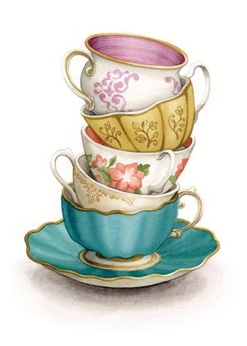 "watercolor tea cups | Tea Cup Art Painting (Archival Print) - ""Tea for Five"" - Alicia's ..."