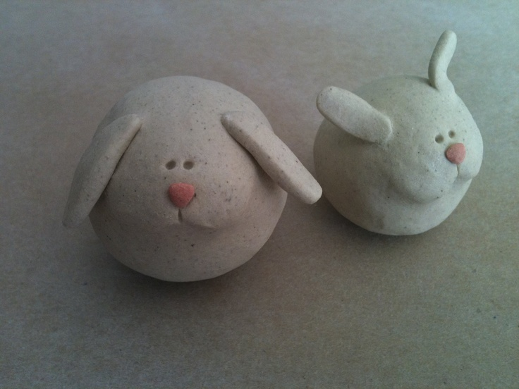 Shubby bunny!! Perfect for Easter!! Ceramic rabbits by artcrafthome on Etsy, $14.00