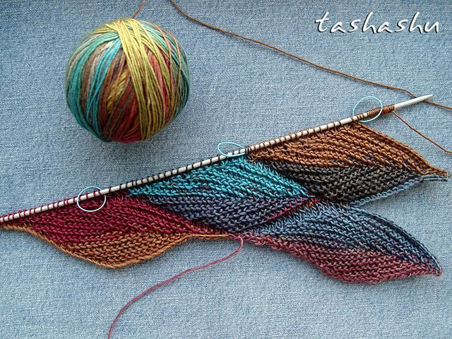 Autumn Leaves - beautiful stitch pattern.  Tricky to knit, and hard to get the color changes in the right place.