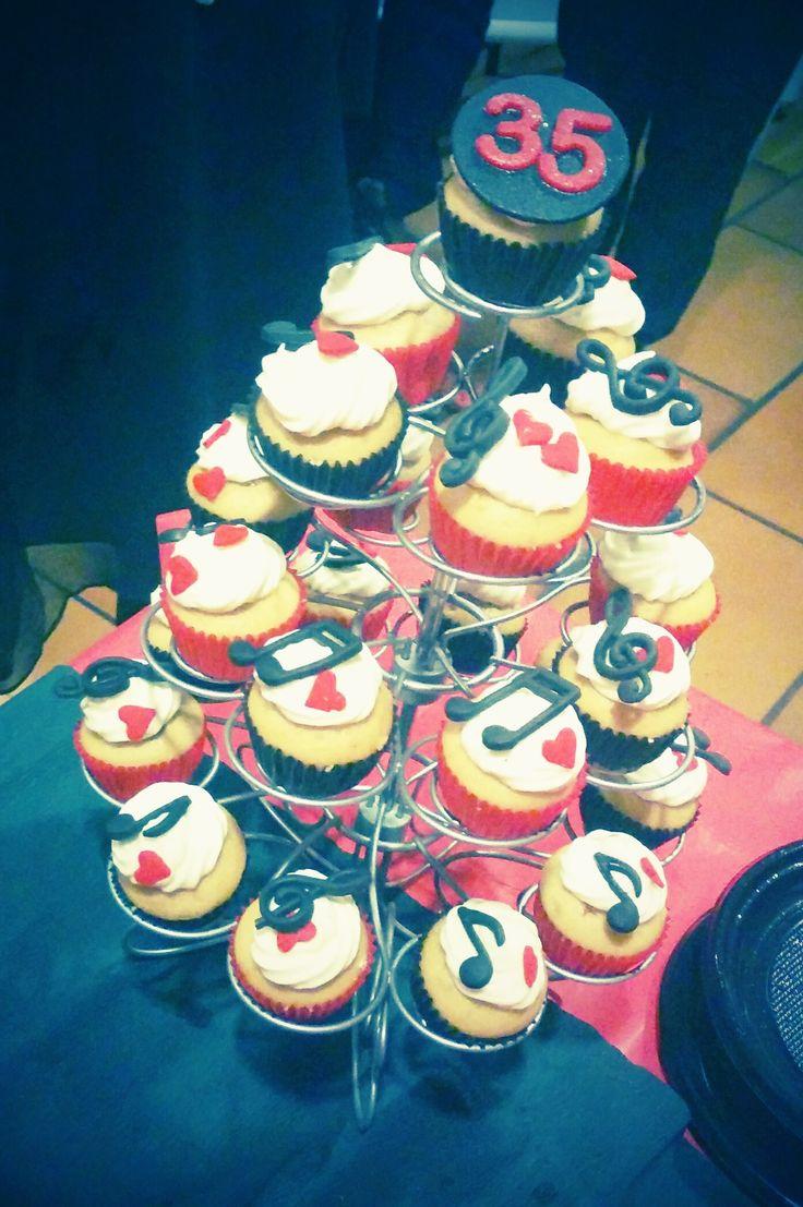 Cupcakes thème Musique, noir et rouge
