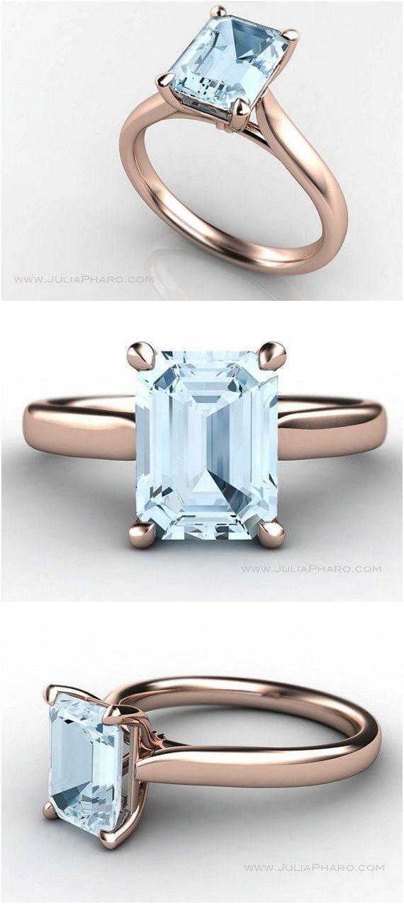 Emerald Cut Aquamarine 18K Rose Gold Solitaire Engagement Ring / http://www.deerpearlflowers.com/emerald-cut-engagement-rings/2/