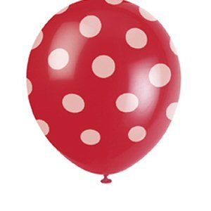 "Ruby Red Polka Dot 12"" Balloons - 1950s, Rock & Roll Party Decoration Ideas"