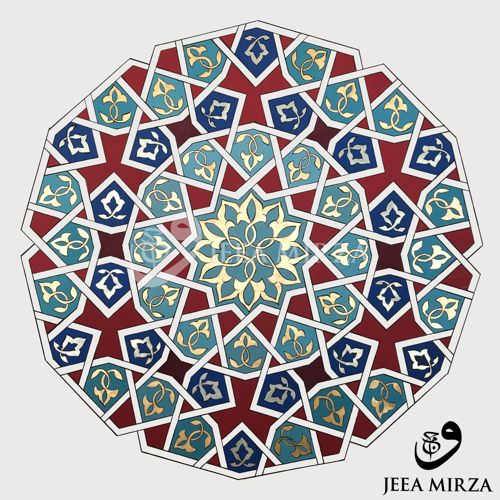 """This is an archival digital print of my original painting """"Mehfil""""  (Gathering). The illuminated roundel is an extract from a classic 12 fold  geometric pattern, printed on 290gsm Hahnemühle Bamboo, fine art paper.  Please note that the gold elements will show subtle variations in sha"""