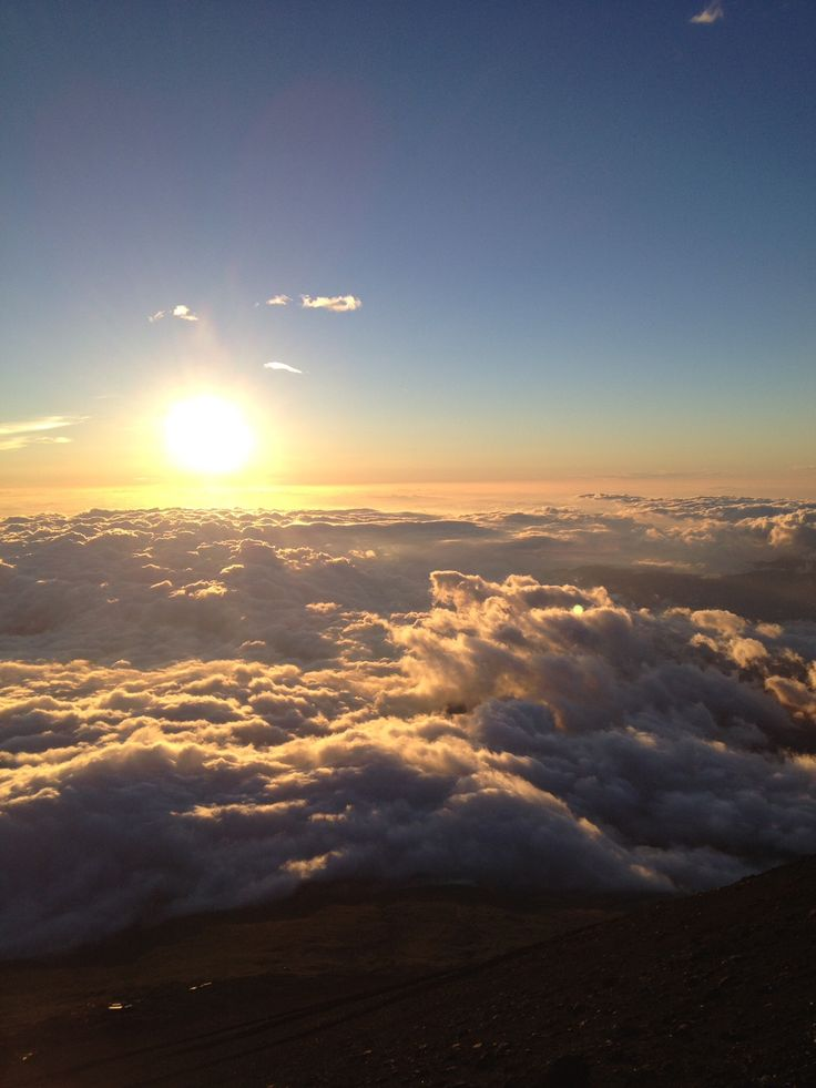 The sunrise on the top of Mt. Fuji