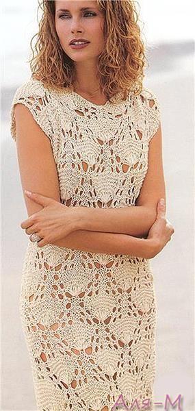 Вязанное платье спицами лето