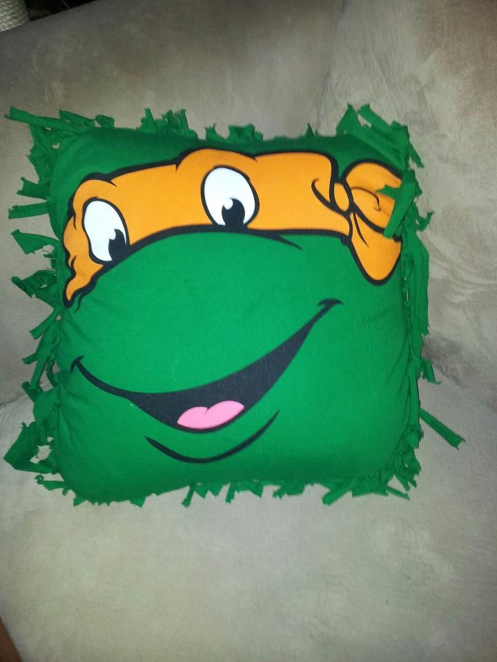 Ninja Turtle Decorative Pillow : Nailed it! Ninja Turtle DIY Pillow Case Cover. Large/ XL tee with strips cut and tied around ...