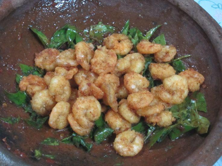 Crispy shrimp and sweet basil sambal