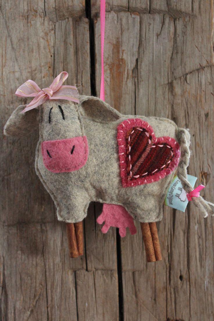 Wool felt ornaments - Ewe La Moo La Cow Ornament By Farmyardart On Etsy Felt Cow X