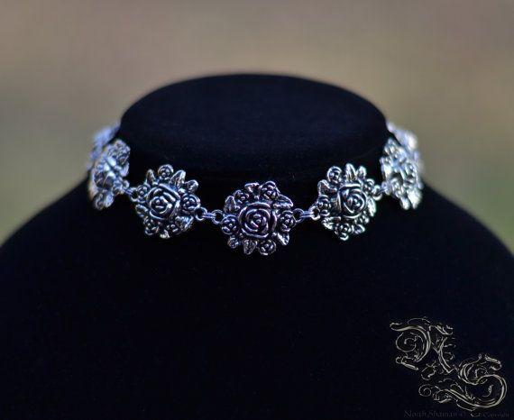 Necklace choker Roses flower goth gothic victorian renaissance North Shaman
