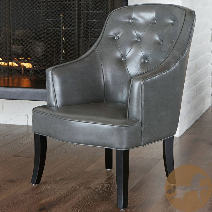 Christopher Knight Home Sophia Dark Grey Leather Chair | Overstock.com Shopping - The Best Deals on Chairs