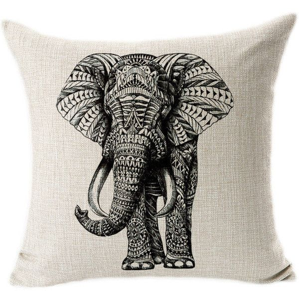 Tribal Elephant Pillow Cover 18 Inch (45 Cm) Pillow Case Pillow Case... ($15) ❤ liked on Polyvore featuring home, home decor, decorative pillows, grey, home & living, home décor, balloon lanterns, modern decorative accessories, elephant home accessories and grey home decor