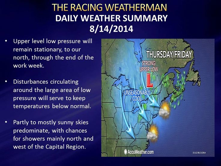 Weather Forecast for Thursday 8/14/14, and special edition of the Raceday Forecast for Lebanon Valley Speedway's Mr. Dirt Track USA program. Click on http://racingwxman.weebly.com/ for the latest!
