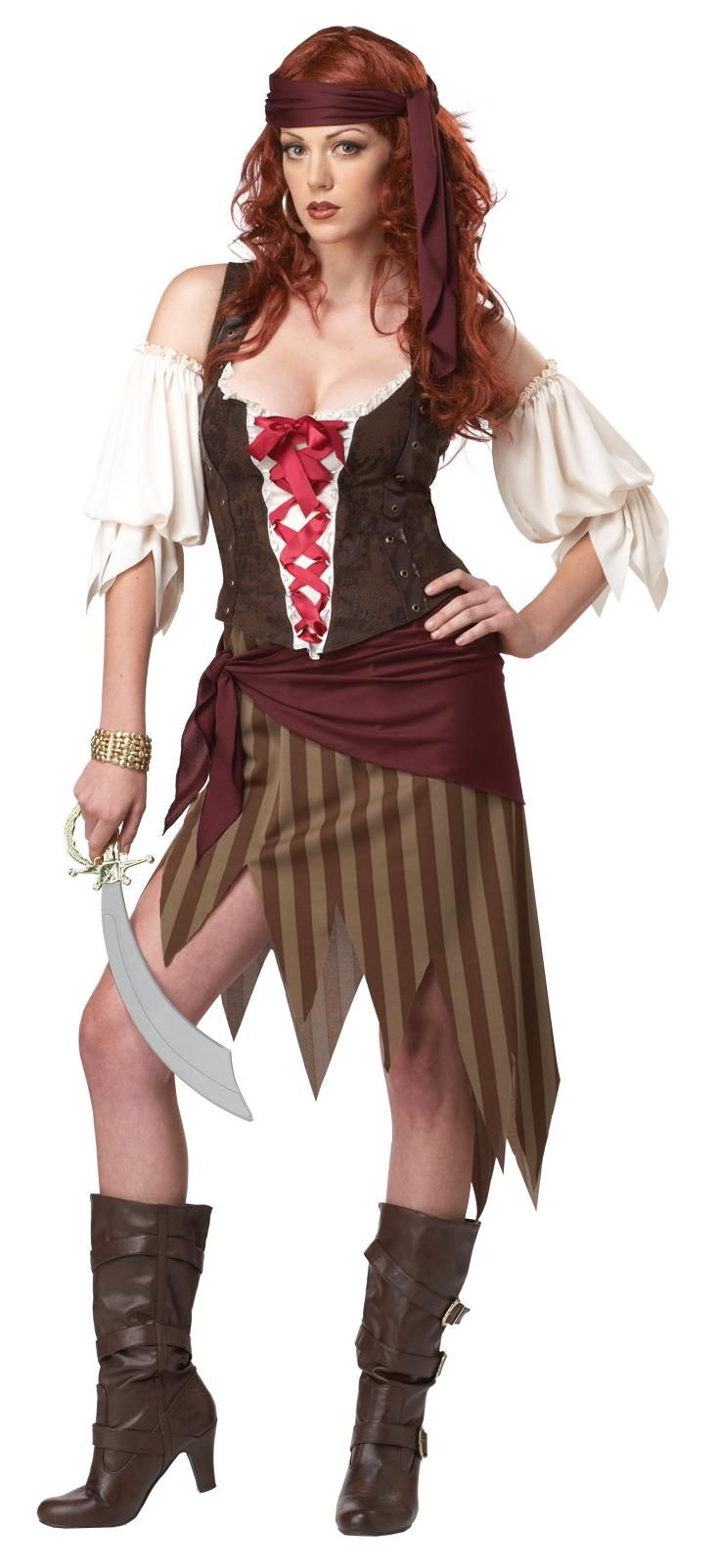 buccaneer beauty pirate adult costume includes top sleeves skirt hip wrap and head tie - Pirate Halloween Costume For Women