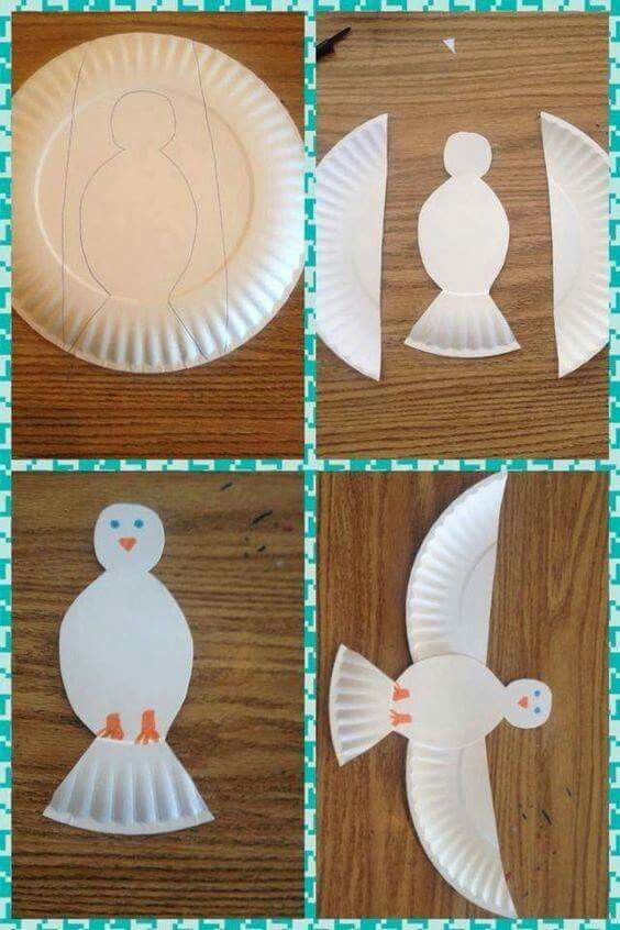 This paper plate dove could be a great Christmas craft with kids!