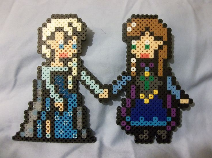 Elsa and Anna - Frozen perler beads by by JustDandE